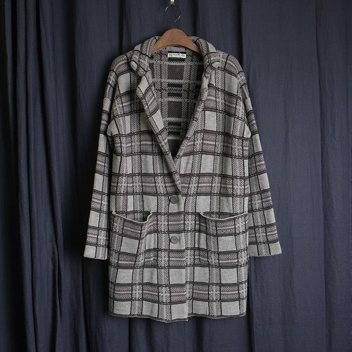BEAMS  빔즈 오버핏 니트 체크 코트