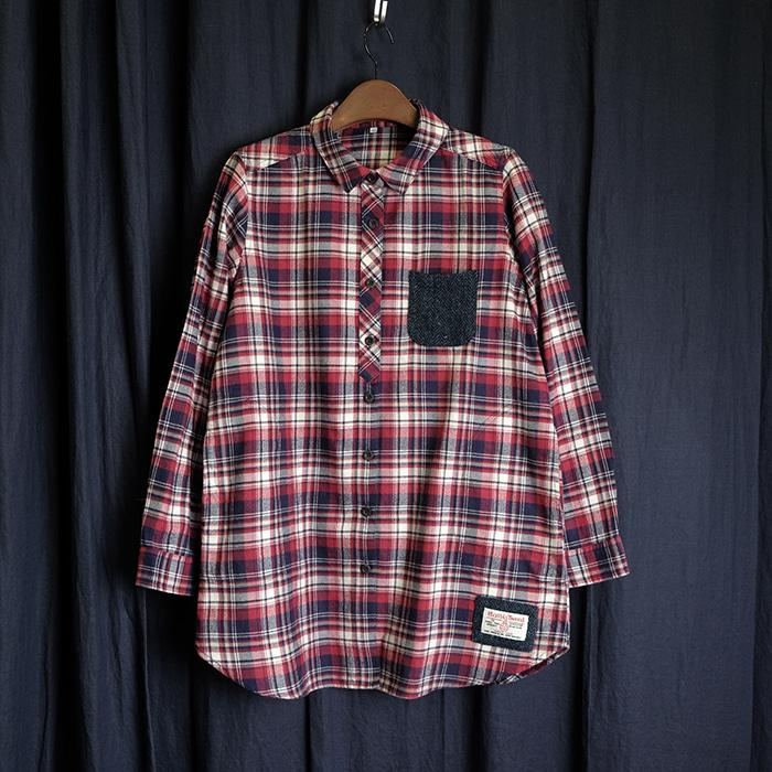 CLOSSHI  클로시 해리스트위드 포인트 롱 플란넬 셔츠