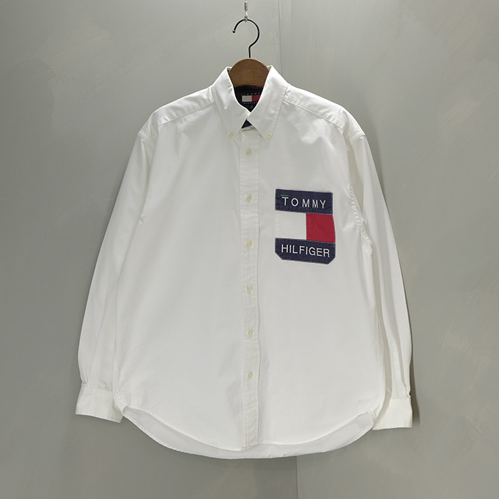 타미 힐피거  Tommy hilfiger 90's vintage logo pocket  overfit oxford shirt