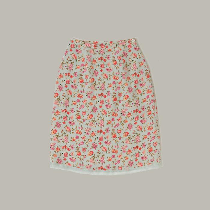 로라 애슐리  Laura ashley silk flower skirt with lace
