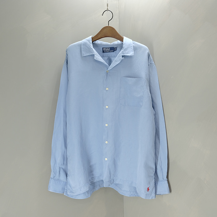 폴로 랄프로렌  Polo ralphlauren linen silk open collar shirt