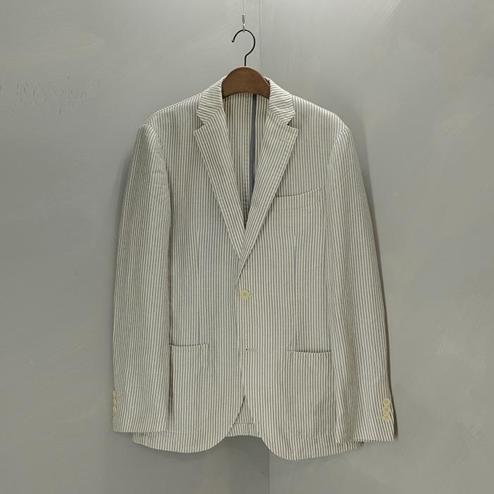 유나이티드애로우즈 x 링자켓  United arrows x ringjacket with marlane linen mix fabric stirpe blazer