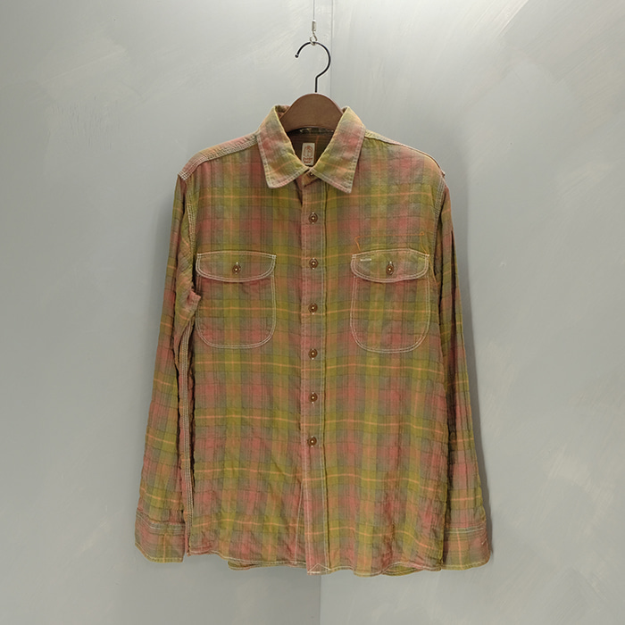 카토  Kato shirt seersucker check shirt