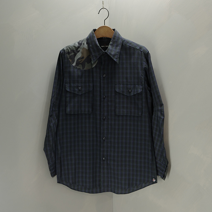 매니악웍스 / Made in japan  Maniac works camo patch check shirt