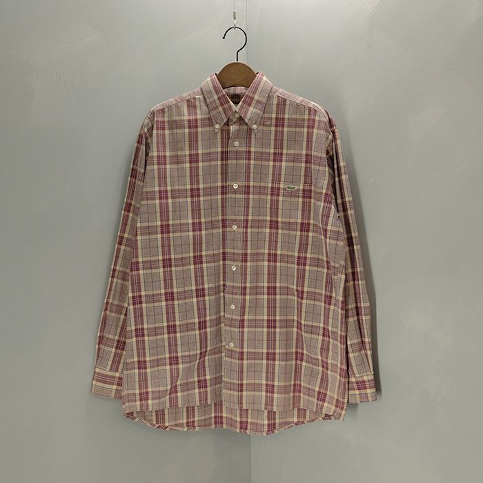 라코스테 / Made in france  Lacoste 80's vtg boxy check shirt