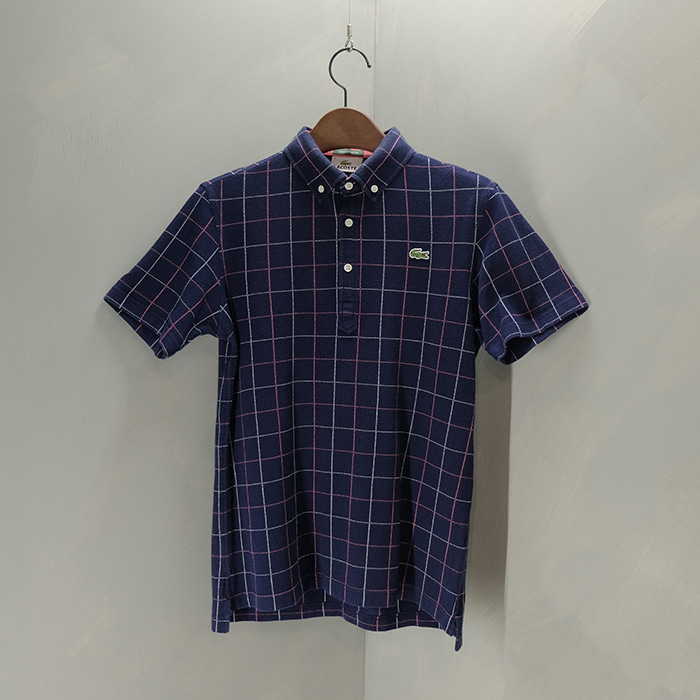 라코스테 / Made in japan  Lacoste check pk collar T