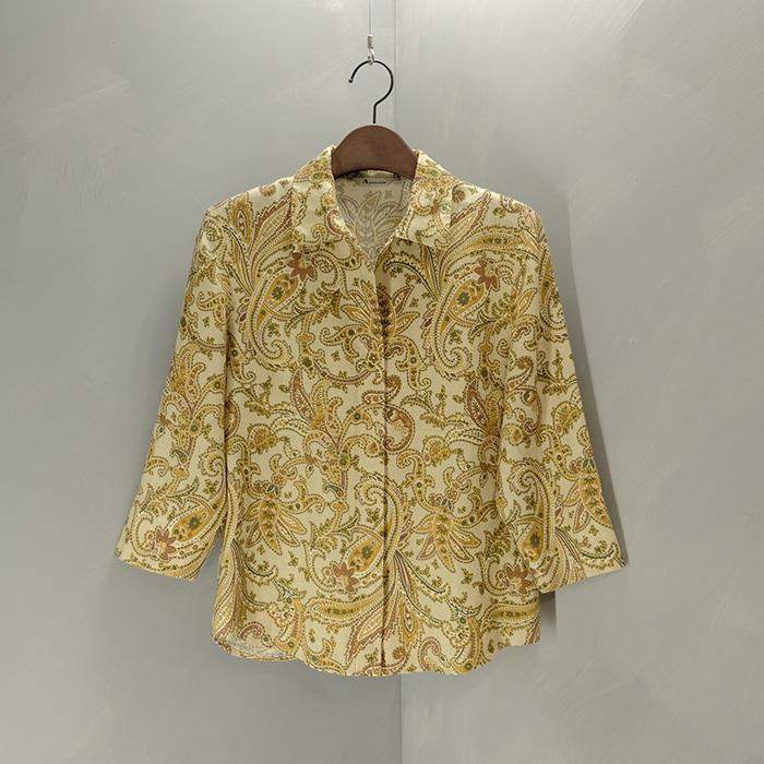아쿠아스큐텀 / Made in japan  Aquscutum paisley pattern linen shirt/jacket