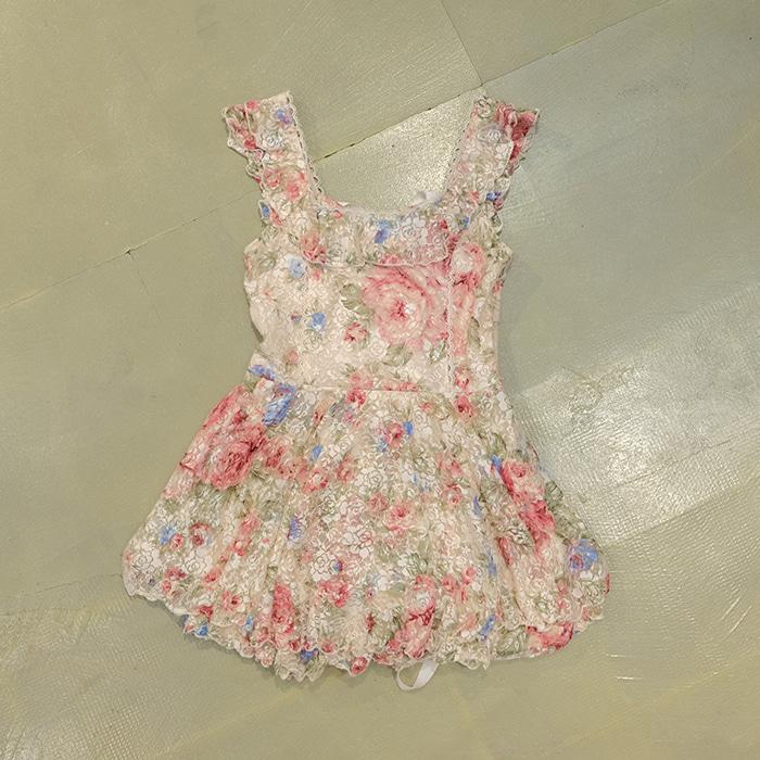 리즈리사  Liz lisa flower pattern sleeveless micro opc/ long top