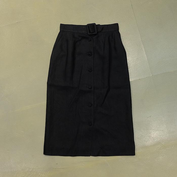 버버리  Burberrys belt detail linen skirt