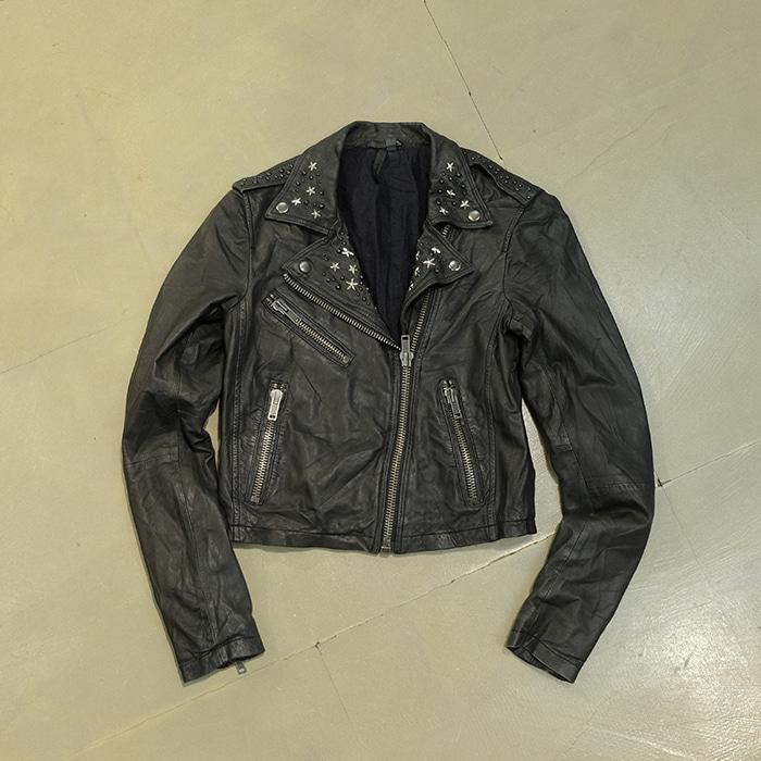 탑샵  Topshop stud real leather rider jacket