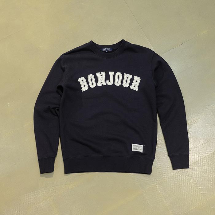 """빔즈  Beams """"bonjour"""" print slimfit sweatshirt"""