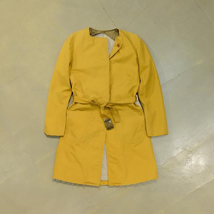 미상  French made cotton belted coat