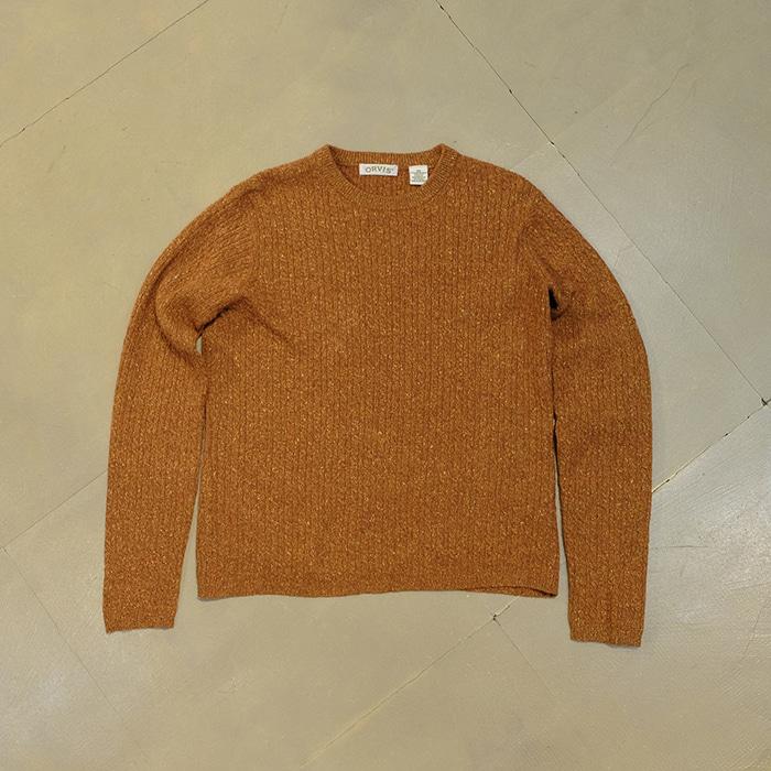 오비스  Orvis wool & silk cable knit sweater