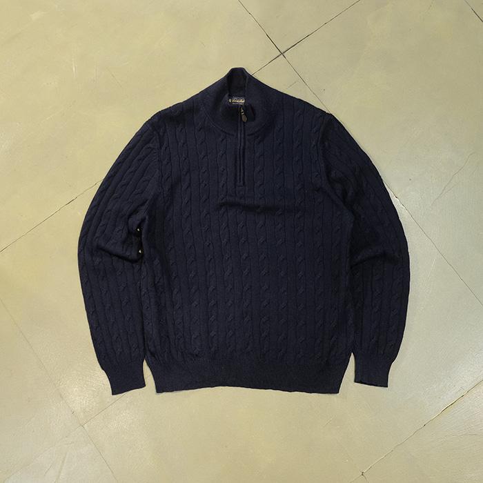 브룩스 브라더스  Brooksbrothers italian merino wool cable zip up pullover